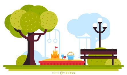 Ilustración de parque de juegos de arena parque