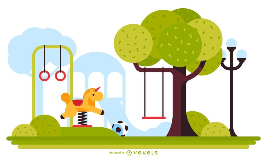 Ilustração de recreio ao ar livre de crianças