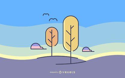 Ilustración de paisaje de parque de trazo