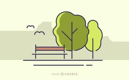 Parque de trazo con ilustración de árboles