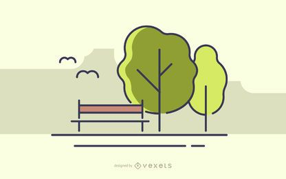 Stroke park with trees illustration
