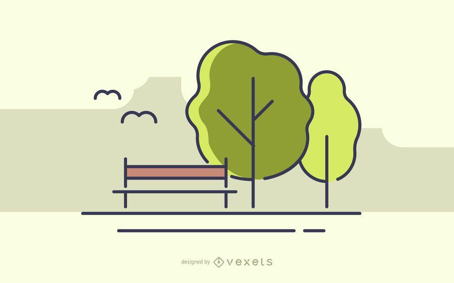 Parque de acidente vascular cerebral com ilustração de árvores