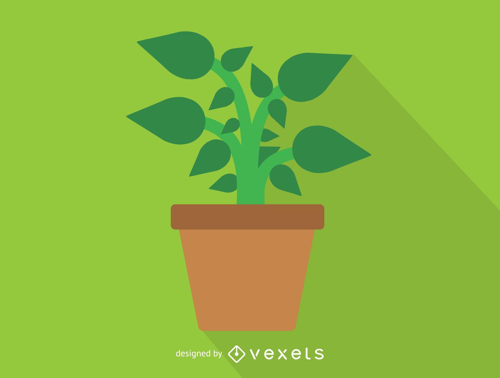 Planta verde en icono de maceta