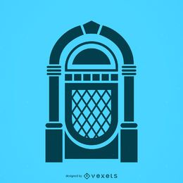 Icono de silueta musical jukebox