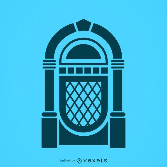 Icono de la silueta de la máquina de discos musical