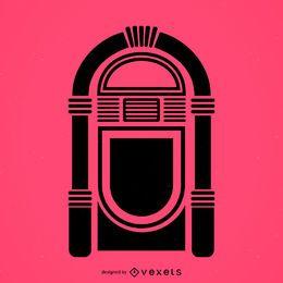 Flache Ikone der musikalischen Jukebox