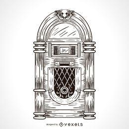 Dibujo de jukebox de música.