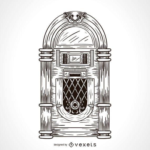 Musik Jukebox-Zeichnung