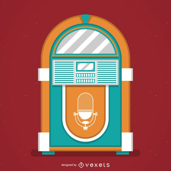 Vintage music jukebox illustration