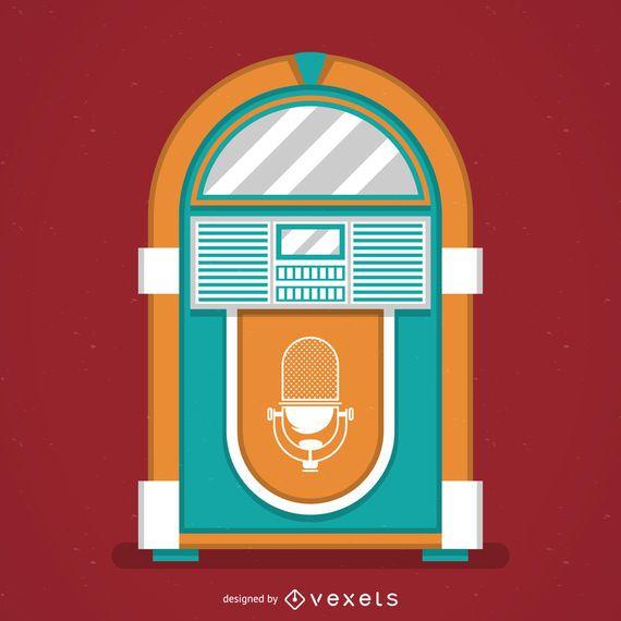 Vintage music jukebox illustration
