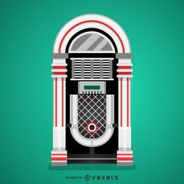 Flat vintage jukebox illustration