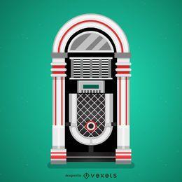 Ilustração de jukebox plana vintage