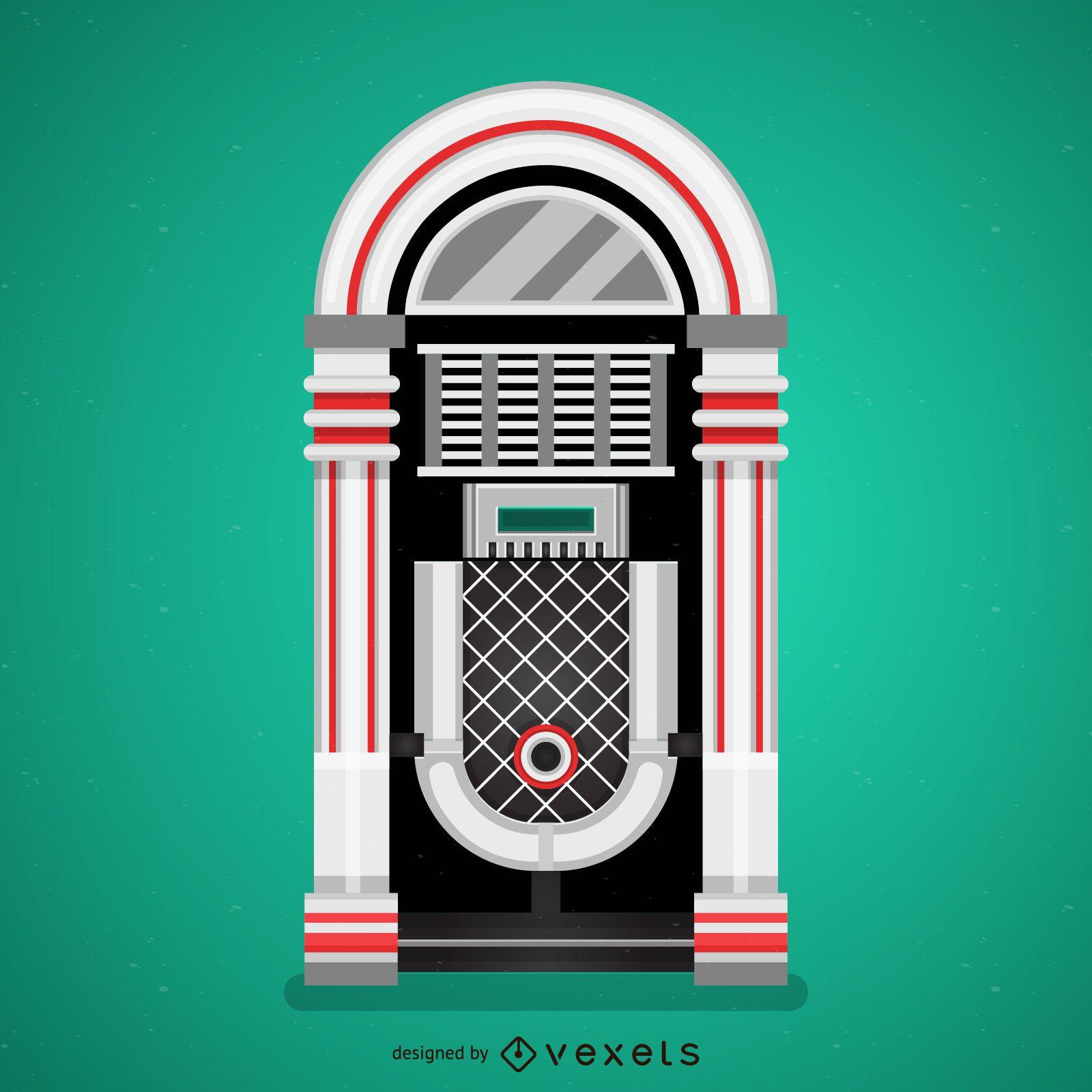 Flat vintage jukebox illustration