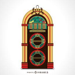 Bela ilustração de jukebox de música vintage