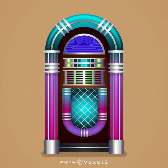 Ilustración de funky jukebox