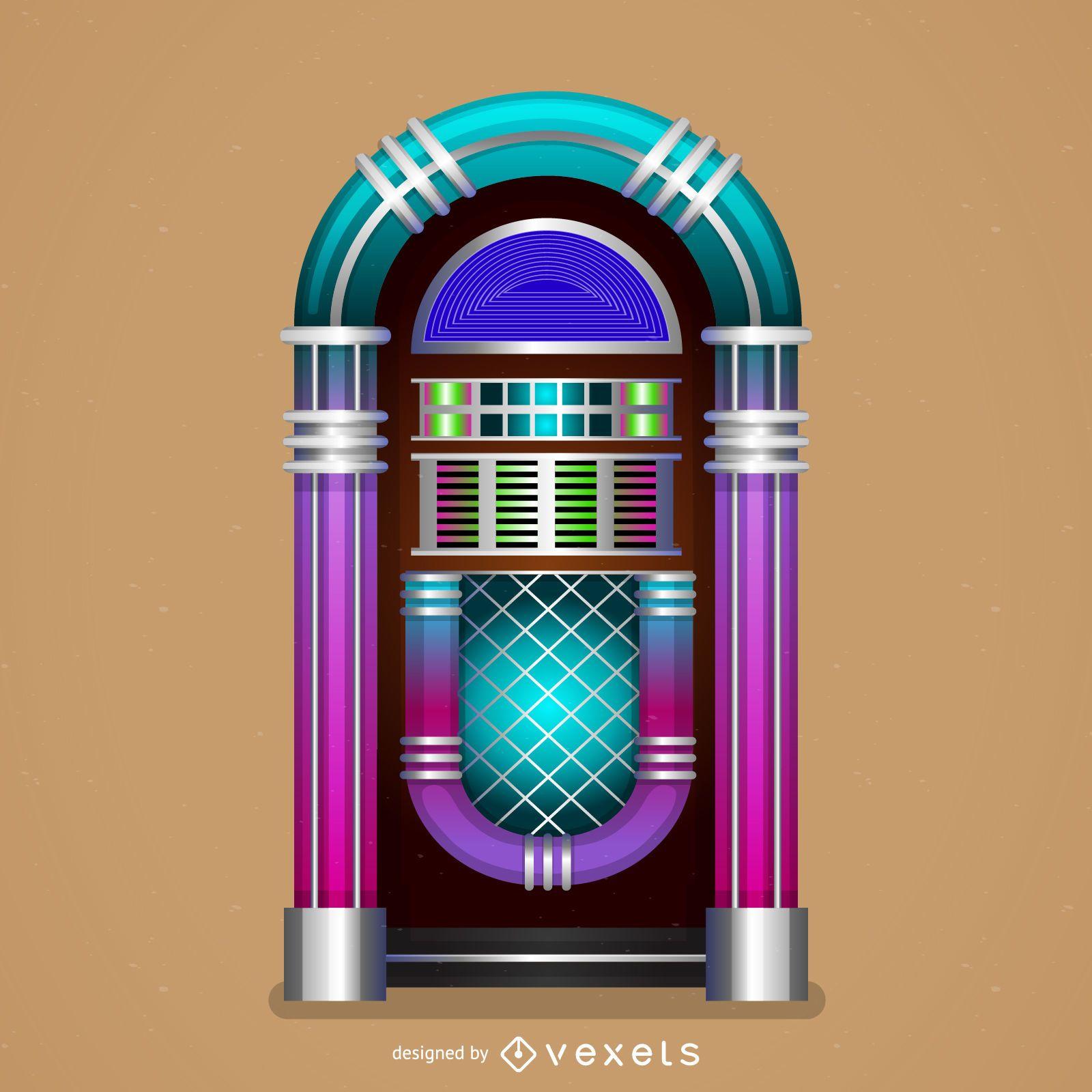 Funky jukebox illustration