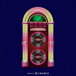 Ilustração colorida do jukebox