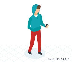 Man checking phone isometric icon