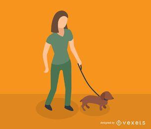 Icono isométrica de perro caminando mujer