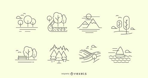 Conjunto de iconos de línea de naturaleza