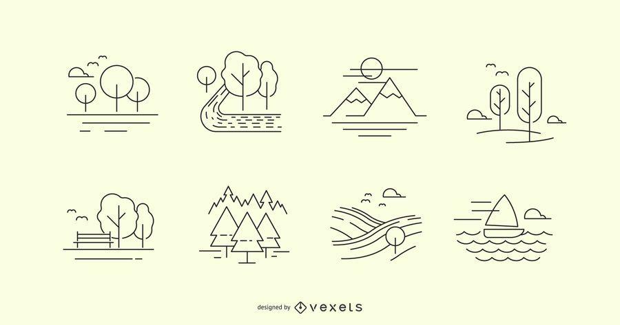 Conjunto de ícones de linha de natureza