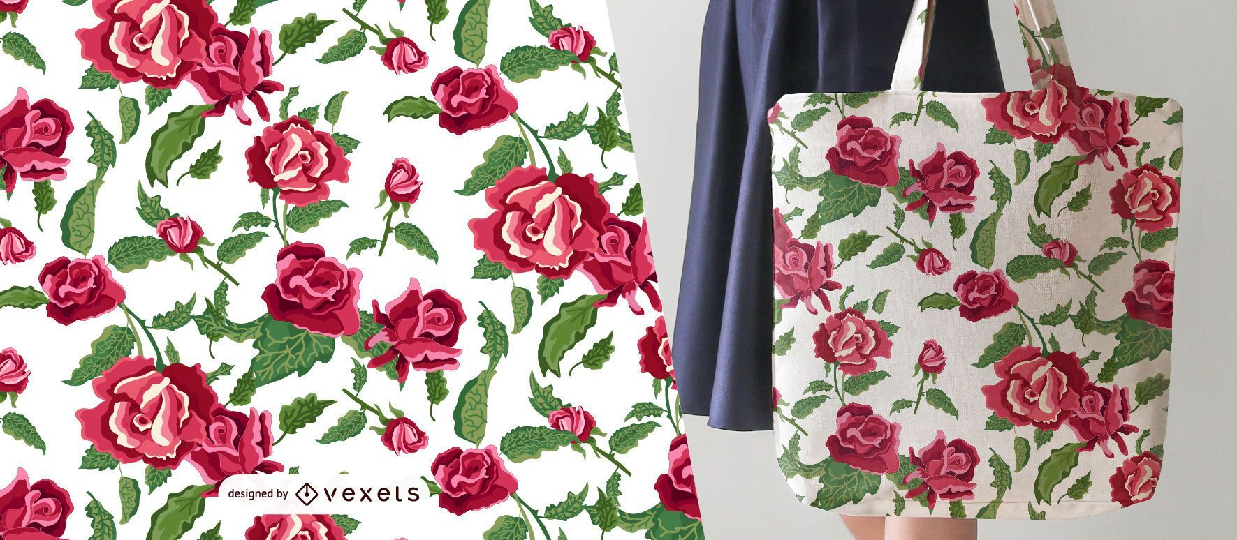 Red flowers floral seamless pattern