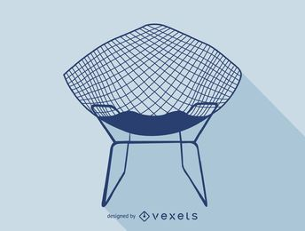 Harry Bertoia chair silhouette icon