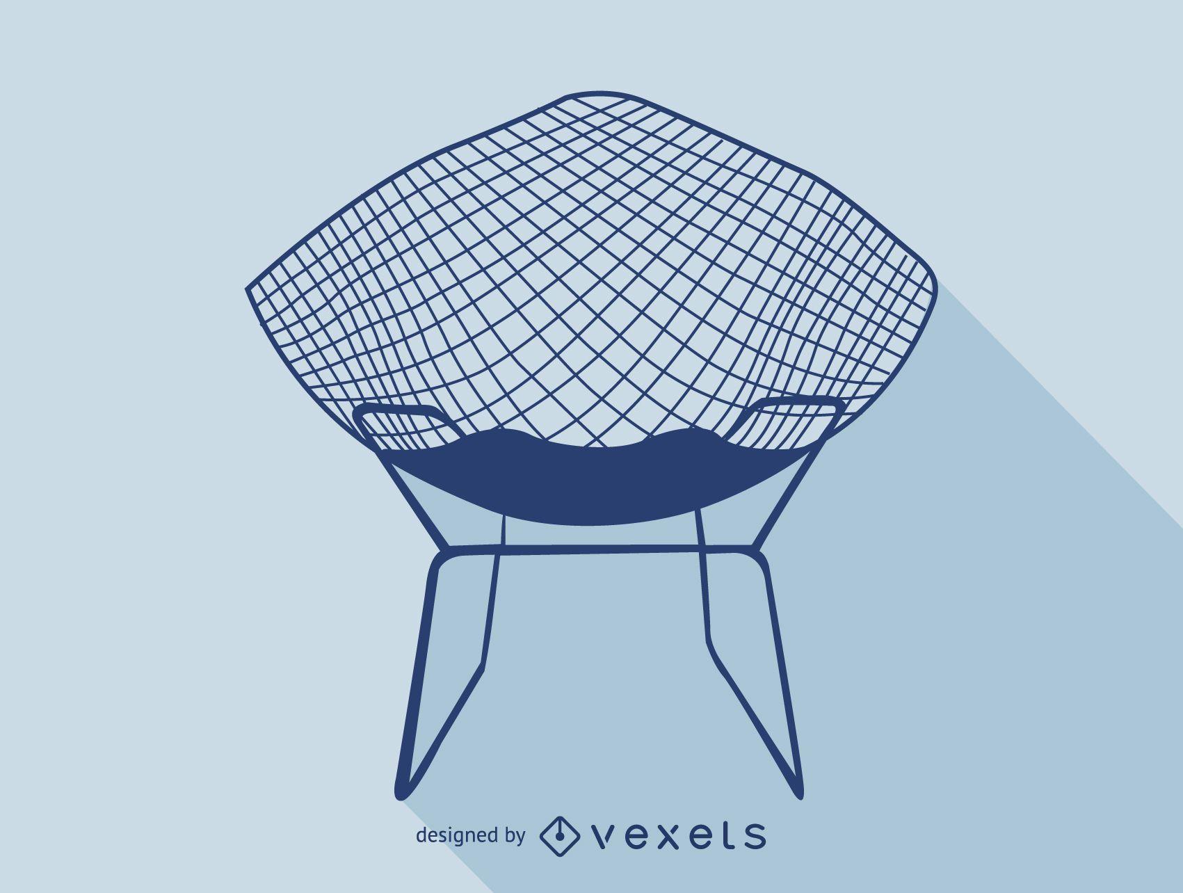 Icono de silueta de silla de Harry Bertoia