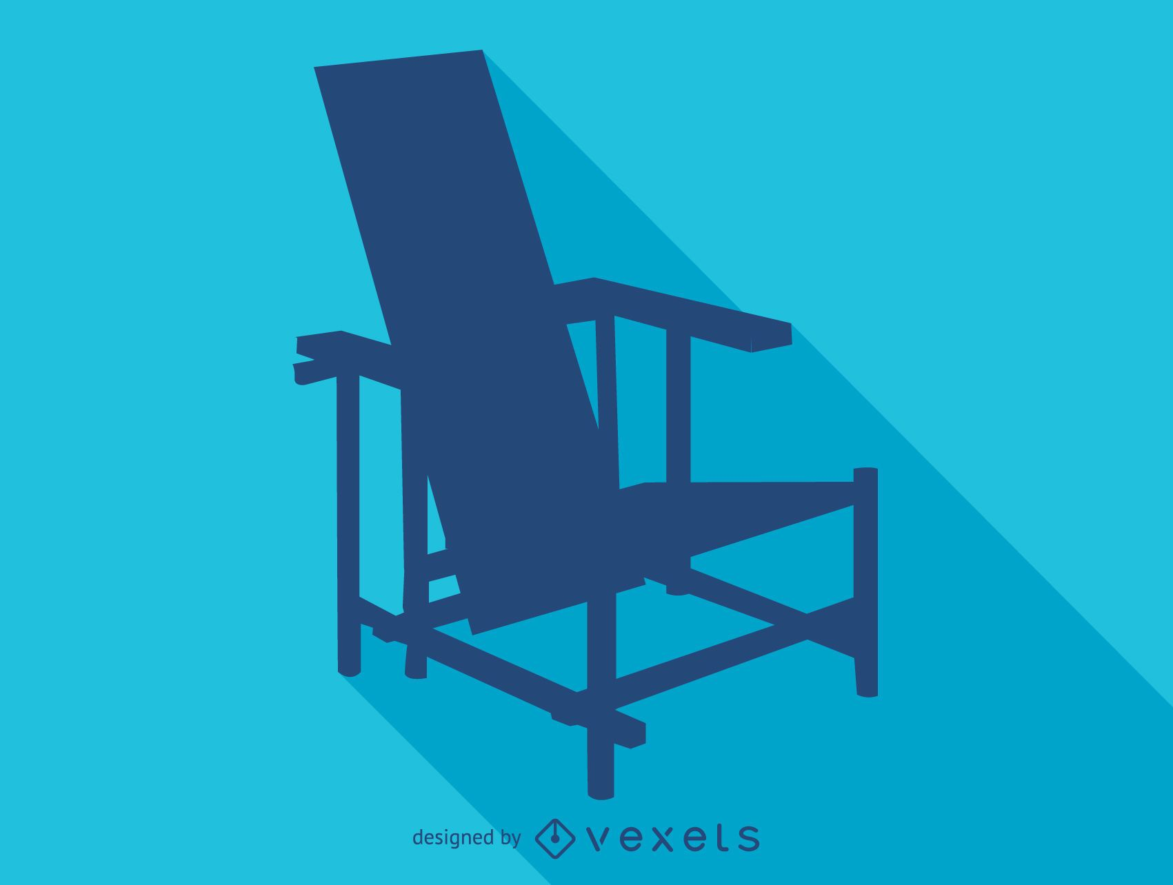 Red blue Rietveld chair silhouette