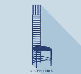 Casa de colina silhueta de cadeira Mackintosh