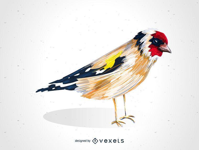 Dibujo de pájaro jilguero europeo