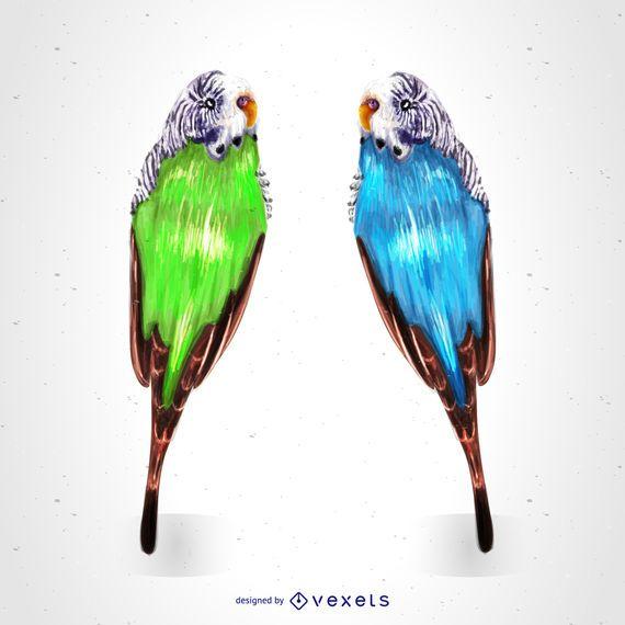 Desenho de papagaios tropicais