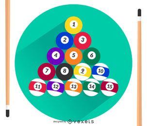 Billiard balls and cues vector