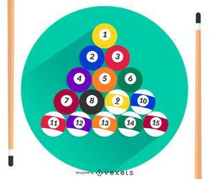 Vector de bolas y señales de billar