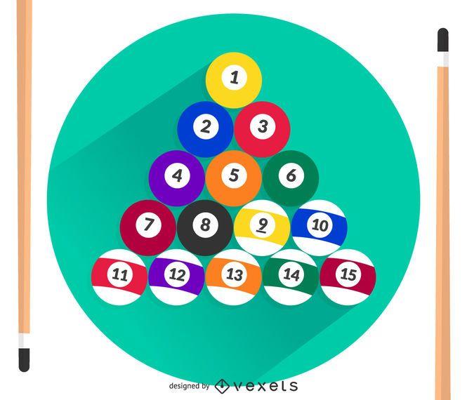 Billiard balls and cues vector
