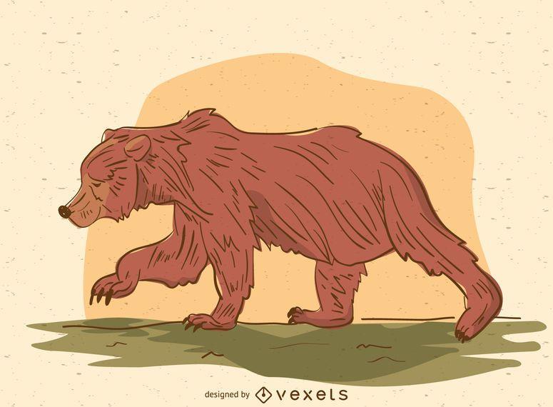 Bear walking cartoon illustration