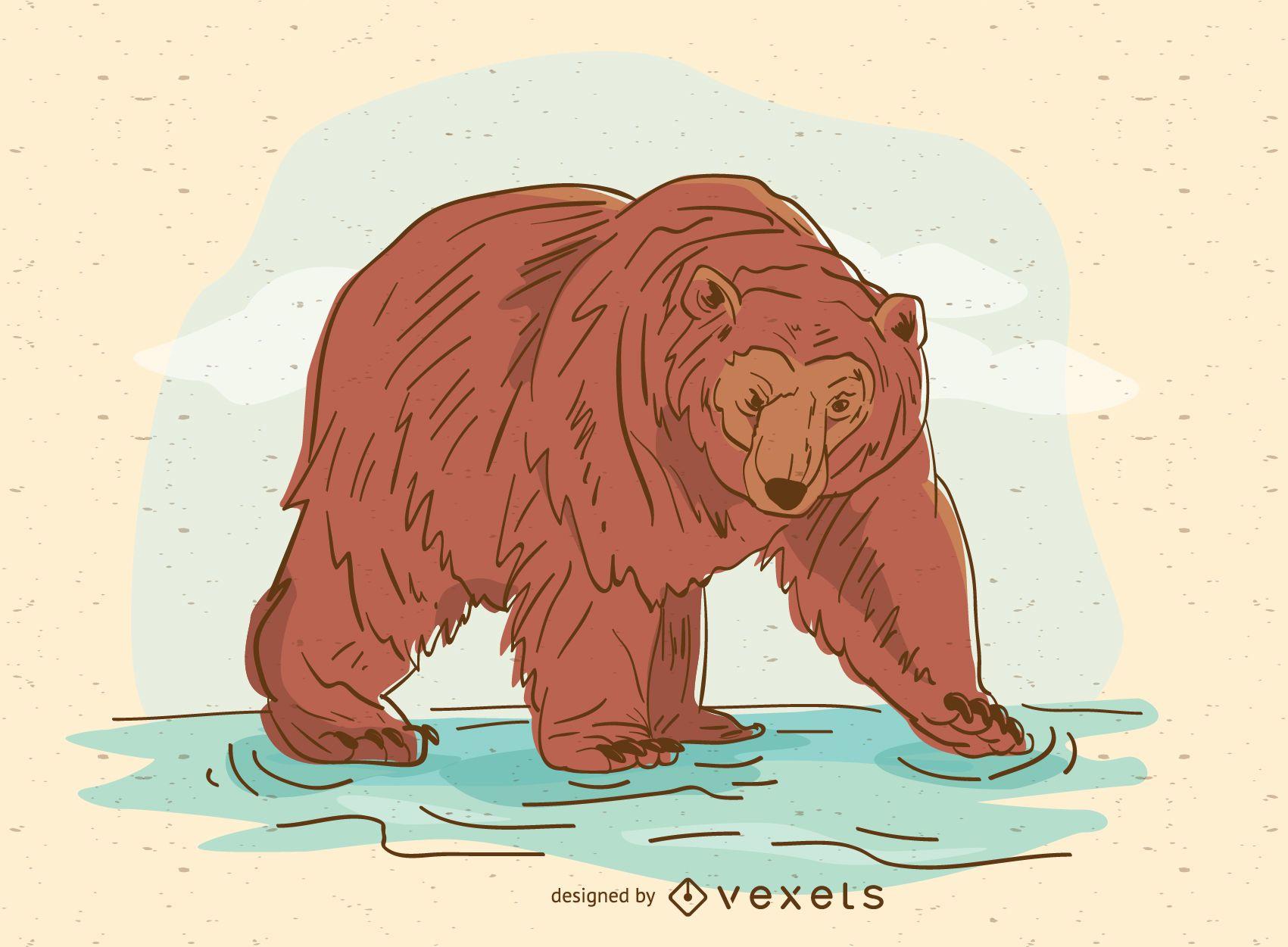 Ilustración de oso pardo dibujado a mano