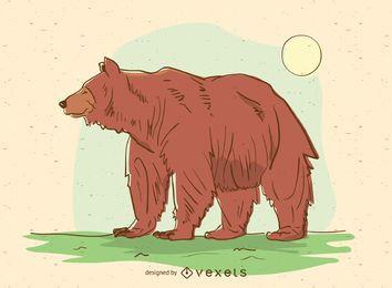 Oso ilustración de dibujos animados de animales
