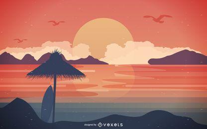 Horizonte de la playa en la ilustración de la puesta del sol