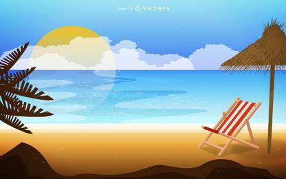 Paisagem de praia na ilustração do nascer do sol