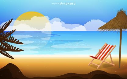 Paisaje de playa en la ilustración de la salida del sol