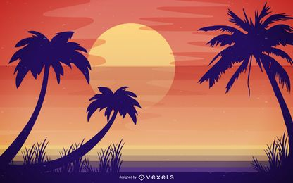 Exotic beach skyline illustration