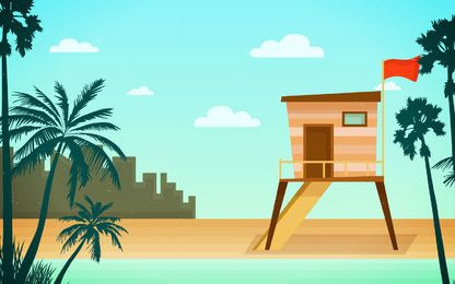 Beach rescue tower skyline illustration