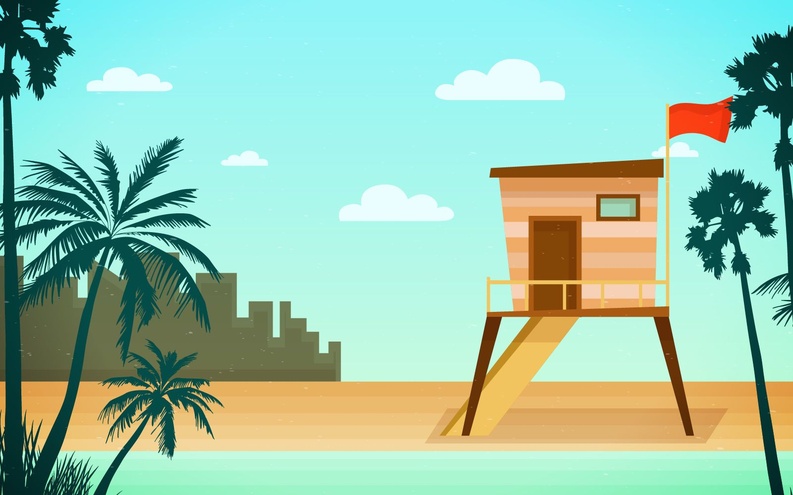Beach rescue tower skyline illustration