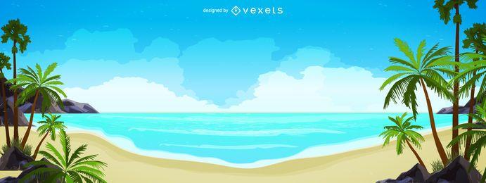 Ilustração do panorama do horizonte da praia