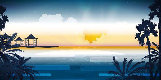 Ilustração de skyline de praia linda