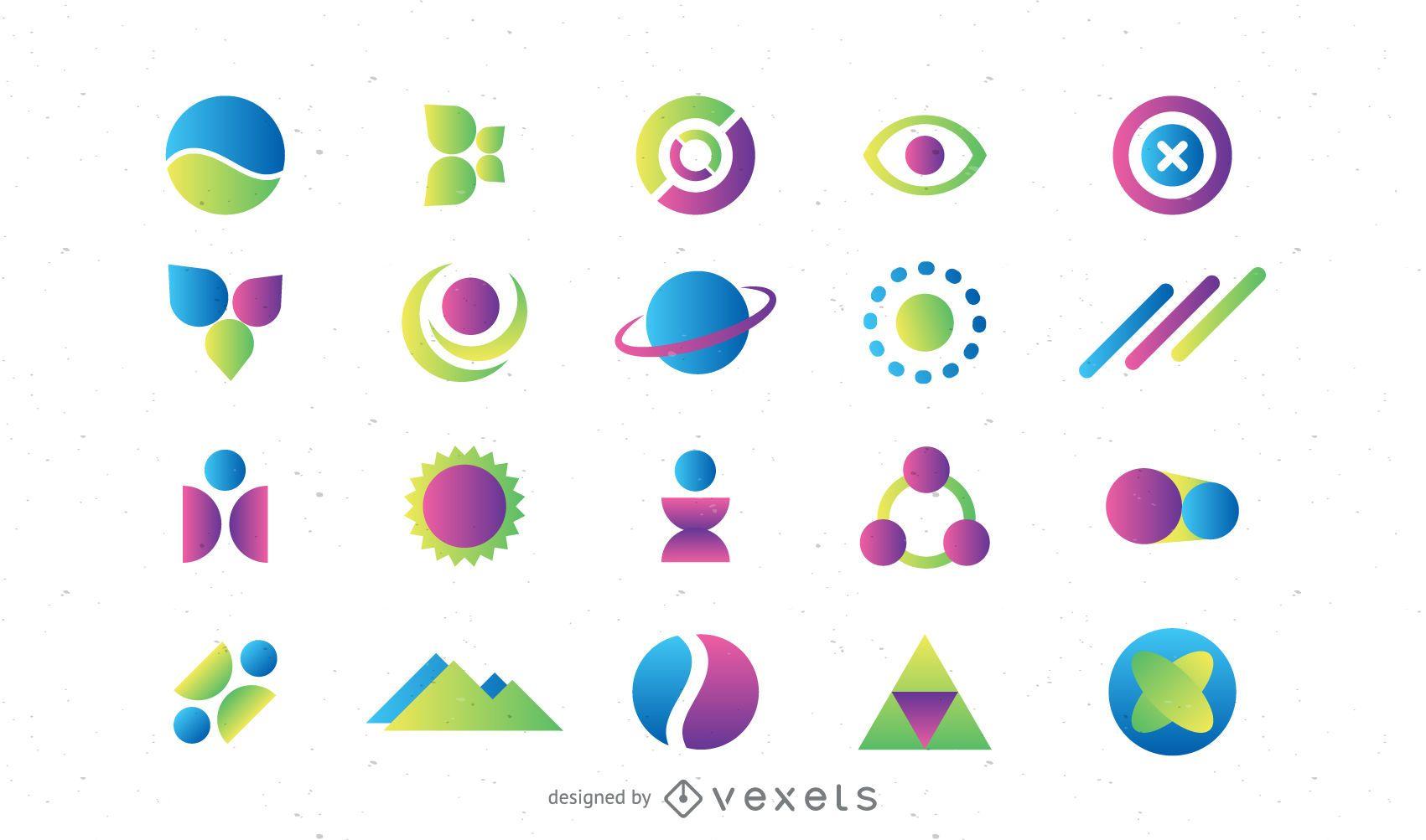 Conjunto de elementos do modelo de logotipo