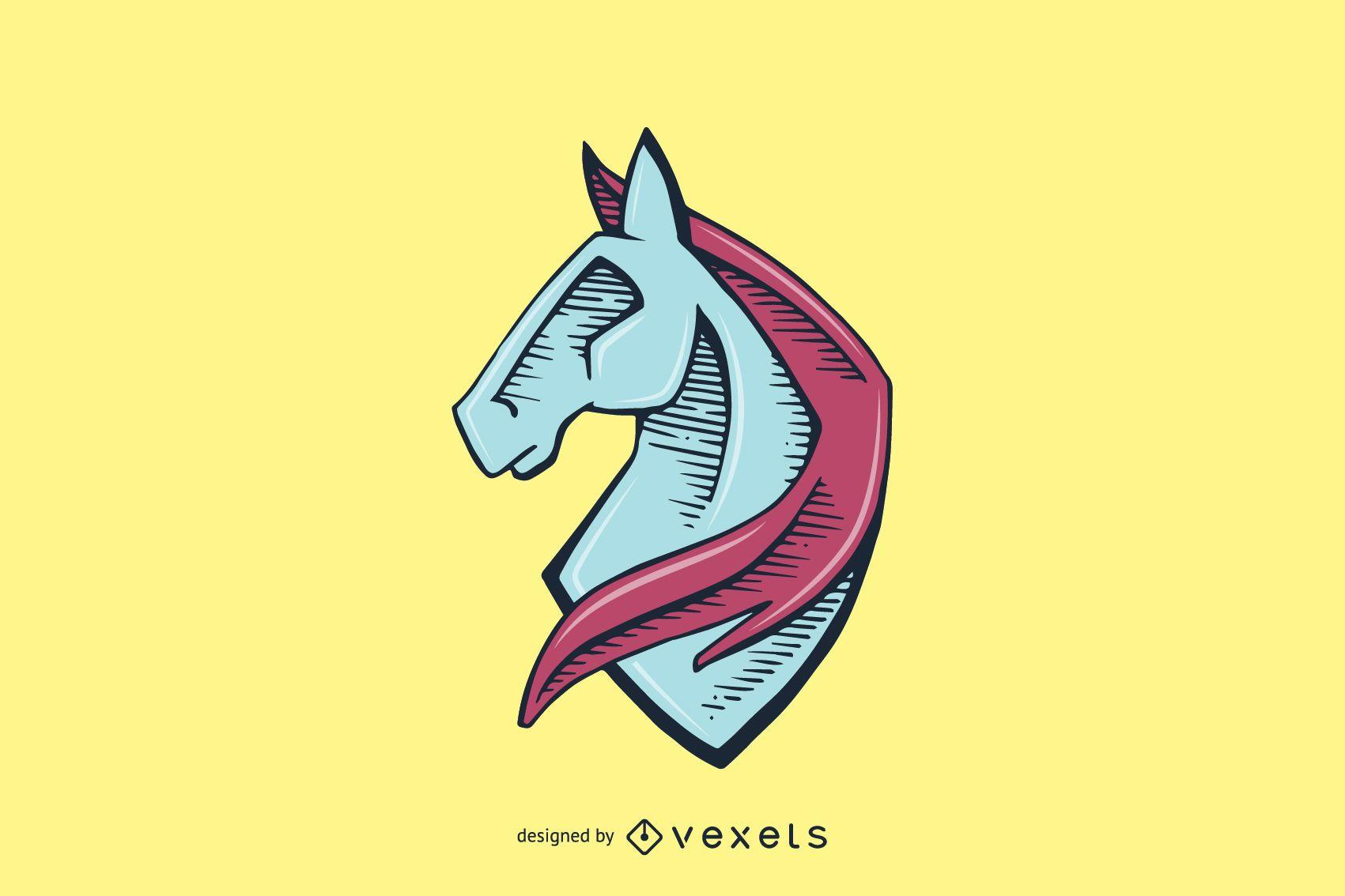 Logotipo da cabeça de cavalo desenhado à mão