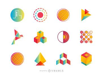 Abstrakter Logosatz oder -sammlung