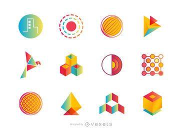 Conjunto de logotipos abstractos o colección
